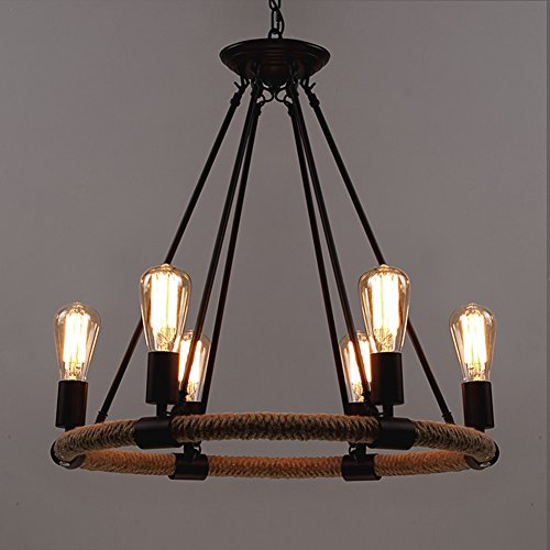 Six Light Chandelier Lamp - BAYCHEER HL371768 Industrial Retro Vintage style with 39.37 inch Length Chain Rope 6 Lights Chandelier Pendant Light Lamp use E26/27 Bulb
