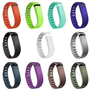 Henoda 11PCS Replacement Bands with Metal Clasps for Fitbit Flex Wireless Activity Sleep Wristband, Set of 15 with 12 Piece Colorful Silicon Fastener Ring
