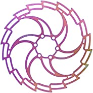 160mm 180mm 203mm Disc Brake Rotor with 6 Bolts, Stainless Steel Electroplating Color Dazzling Hollow Ultralig