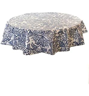 Round Freckled Sage Oilcloth Tablecloth In Toile Blue   You Pick The Size!