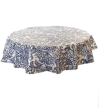 Perfect Round Freckled Sage Oilcloth Tablecloth In Toile Blue   You Pick The Size!