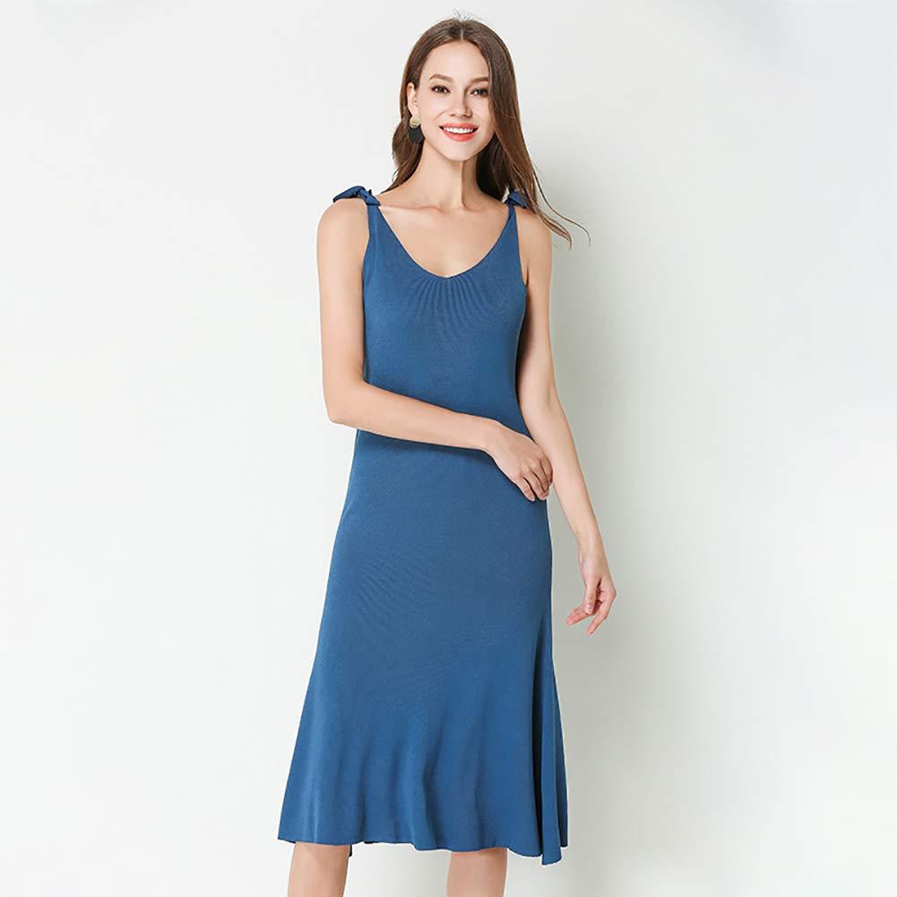 B Women's Long Dress, Summer Knit lace VNeck Skirt Sling Backless Aline Skirt