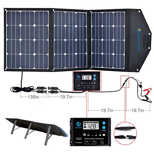 ACOPOWER 120W Foldable Solar Panel, 12V Foldable Solar Suitcase with ProteusX 20A Charge Controller in Suitcase