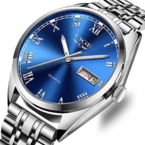 - Mens Watches Fashion Stainless Steel Analog Quartz Watch Men Luxury Brand LIGE Watch Silver Classic Casual Date Wrist Watch Mens Business Blue Watch