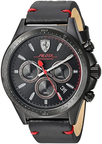 Ferrari Men s Pilota Stainless Steel Quartz Watch with Leather-Calfskin Strap, Black, 22 Model 830434