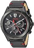 Ferrari Men's 'Pilota' Quartz Stainless Steel and Leather Casual Watch, Color Black (Model: 830434)