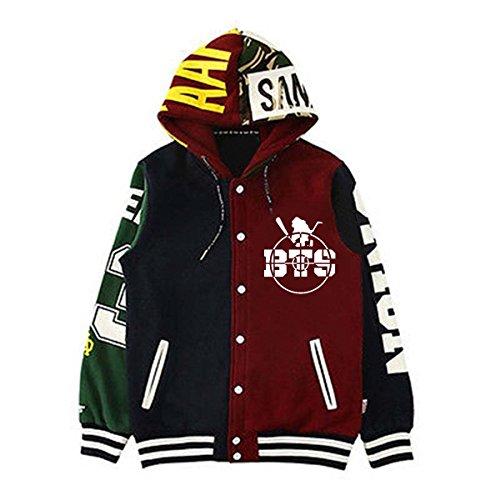 - KPOP BTS Unisex Cap Hoodie Sweater Bangtan Boys Hoody Jimin Jungkook Suga Pullover XXL Muti