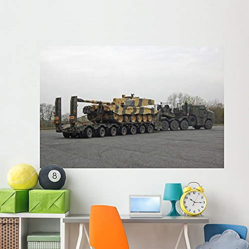 Tank Transporter Hauling Challenger Wall Mural by Wallmonkeys Peel and Stick Graphic (72 in W x 48 in H) WM352775