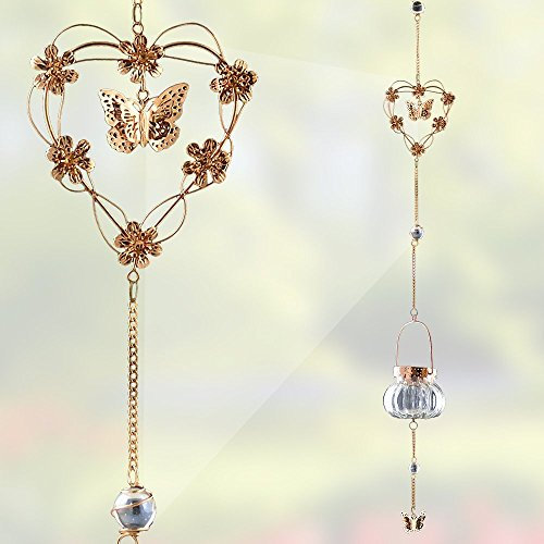 Hanging Butterfly and Heart Chimes - Hanging Glass Tea Light Candle Holder - Hanging Garden Chimes - 40 Inch High Glass Love Heart Tealight Holder