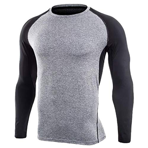 QBQCBB Mens Fitness Long Sleeves Pullover Bodybuilding Skin Tight-Drying T-Shirt(Gray,L) for $<!--$7.23-->
