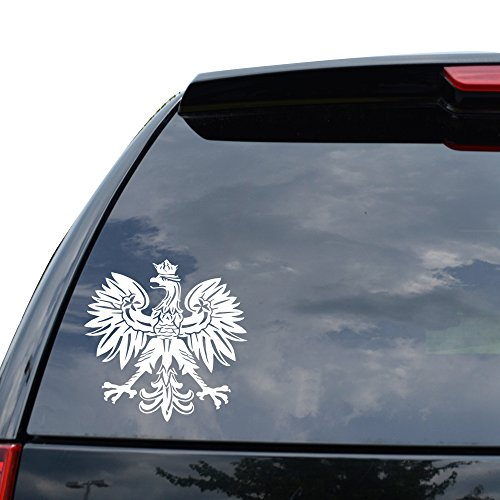 POLISH EAGLE EMBLEM CREST Decal Sticker Car Truck Motorcycle Window Ipad Laptop Wall Decor - Size (05 inch / 13 cm Tall) - Color (Gloss WHITE) - Polish Eagle Emblem