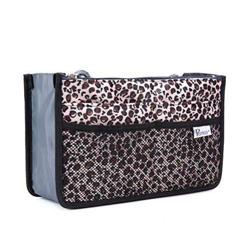Periea Purse Organizer Insert Handbag Organizer - Chelsy - 28 Colors Available - Small, Medium or Large (Gold Leopard Spots, Large)