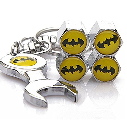 Set of 4 Tire valve stems Caps with Wrench Keychain For Batman
