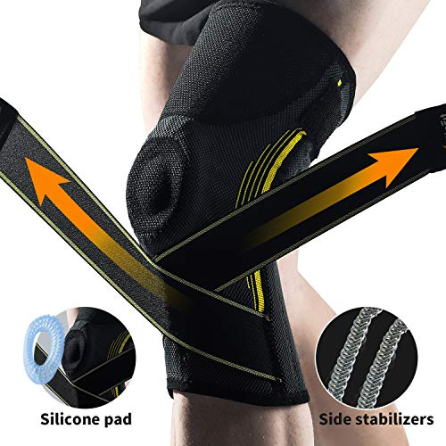 """Knee Brace for Women and Men – Compression Knee Sleeve Support for Running,Squats, Gym, Best Knee Support with Side Stabilizers and Patella Gel Pads for Meniscus Tear Arthritis, Small 14""""-17"""""""