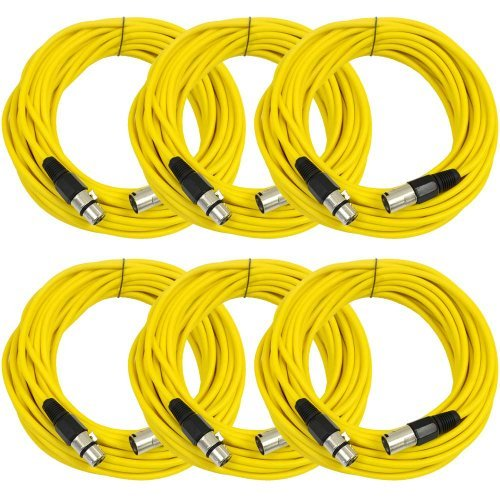 SEISMIC AUDIO - SAXLX-50-6 Pack of 50' Yellow XLR Male to XLR Female Microphone Cables - Balanced - 50 Foot Patch Cords [並行輸入品] B07DZP2879