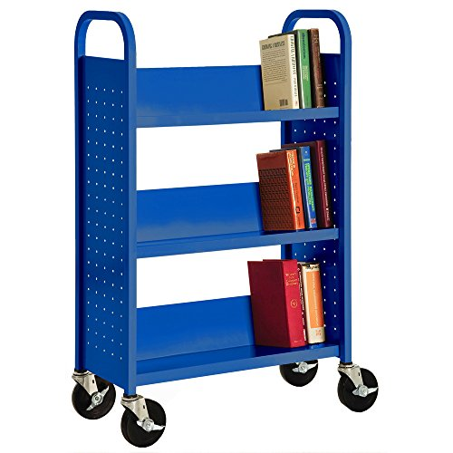 Sandusky Lee SL327-06 Single Sided Sloped Shelf Welded Bookcase, 14'' Length, 28'' Width, 46'' Height, 3 Shelves, Ocean by Sandusky