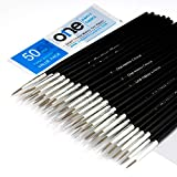 50 Pcs Pack of Synthetic Sable Fine Detail Paint Brushes Set for Miniature, Scale Model, Art Painting in Acrylic, Oil, Watercolor - Pointed Round (Size #1 (Large))