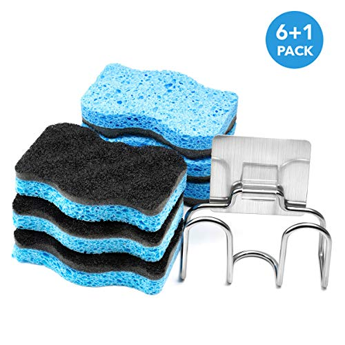 SSJL Multi-Use Dish Sponge 6-Pack with Adhesive Stainless Steel Holder – Kitchen Sponges Scrub Cleaning Pads Supplies – Antibacterial & Biodegradable Scrubber for Dishes- Eco Dishwashing Scouring Pad