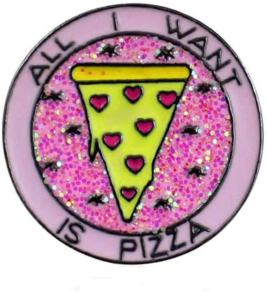 Charmart Pizza Lapel Pins 2 Piece Set All i Want is Pizza Enamel Brooch Pin Accessories Badge