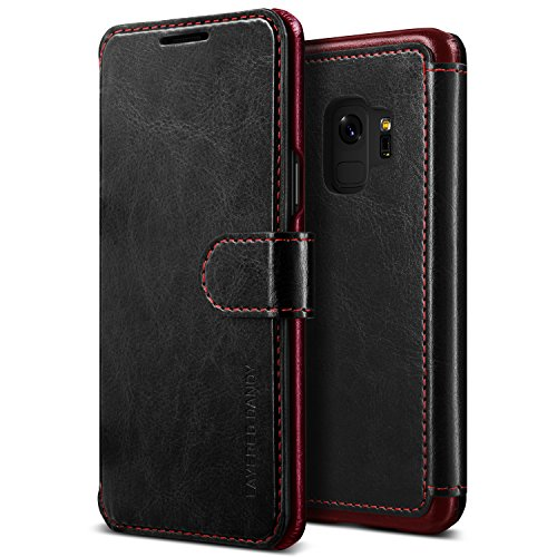 Galaxy S9 Case :: VRS :: Drop Protection Cover :: Classy Slim Leather Wallet:: ID Credit Card Slot Holder for Samsung Galaxy S9 (Layered Dandy – Black & Brown)