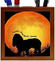 Rikki Knight Cavalier King Charles Spaniel Dog Silhouette by Moon Design 5-Inch Wooden Tile Pen Holder (RK-PH8471)