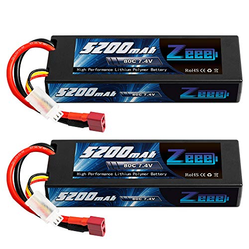 Zeee 7.4V 2S 5200mAh 80C RC Lipo Hard case Battery with Deans Plug for 1/8 1/10 RC Vehicles Car Traxxas Slash X-Maxx RC Buggy Truggy RC Airplane UAV Drone FPV(2Pcs)