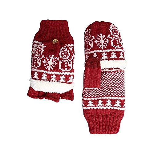 (サンディエゴハット) San Diego Hat Company レディース 手袋?グローブ KNG3476 Snowflake Pop Over Gloves [並行輸入品]
