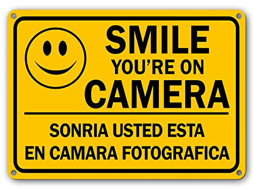 Mysignboards Smile Youre on Camera Security Video Surveillance Sign English Spanish Waterproof Fade Resistant UV Protective Ink CCTV Home Security Alert Sign Smile Security Camera Sign 7x 11