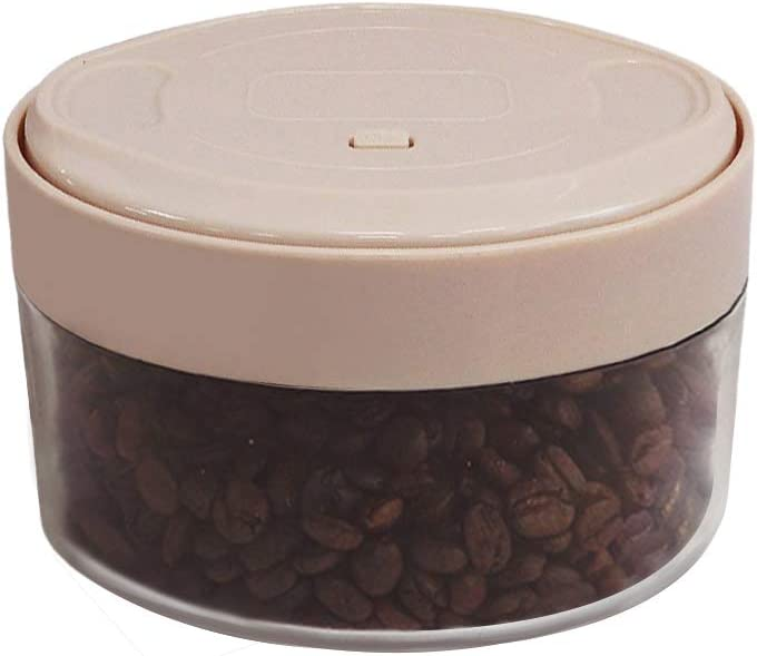 Vacuum Canister for Coffee & Food Storage, 750 ml, Integrated Vacuum Pump, Airtight Seal - Transparent Brown