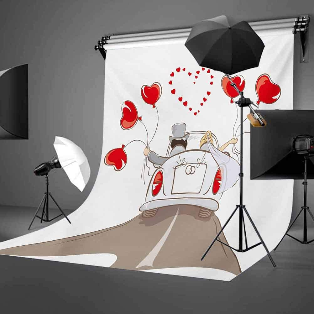 Wedding 10x12 FT Backdrop Photographers,Newlywed Couple in Vintage Car with Heart Shaped Balloons Drawing Art Print Background for Baby Birthday Party Wedding Vinyl Studio Props Photography