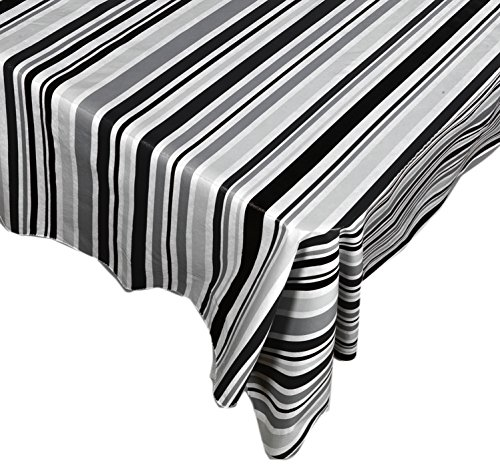 Bohemian Black and White Stripe Casual Print Indoor/Outdoor Vinyl Flannel Backed Tablecloth - 52 x 70 Oblong