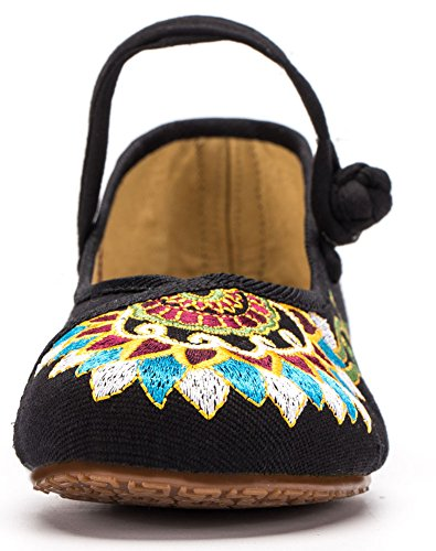 AvaCostume Womens Buddhism Totem Embroidery Casual Mary Jane Shoes Black jQbbXg31