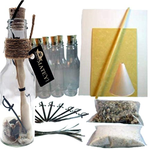 20 Message in a Bottle Invitations Kit for Weddings, Parties and Events (Pirate, Plastic)