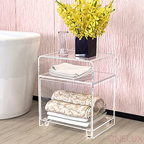 clear acrylic nightstand with a storage basketLucite bathroom tables  sc 1 st  Amazon.com & Amazon.com: clear acrylic nightstand with a storage basketLucite ...