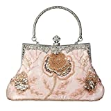 Whoinshop Women's Seed Beaded Rose Vintage Evening Cluth Party Purse Bag Wedding Handbag