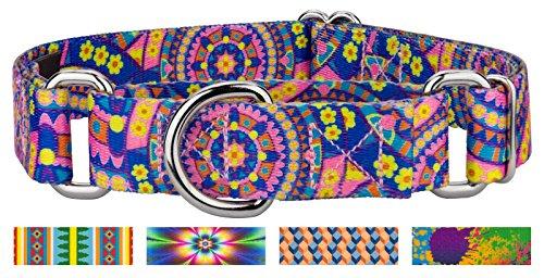 Country Brook Petz | Blue Boho Mandala Martingale Dog Collar - Medium (Designer Dog Collar Martingale)
