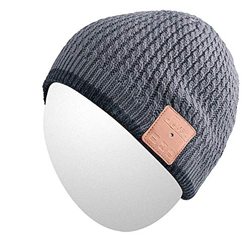 Qshell Outdoor Bluetooth Beanie Hat Slouchy Knit Skully Cap with Wireless Bluetooth Headphone Headset Earphone Music Audio Hands-Free Phone Call for Winter Sports Fitness Gym Exercise Workout - Gray (Hoodie Bass Kids)