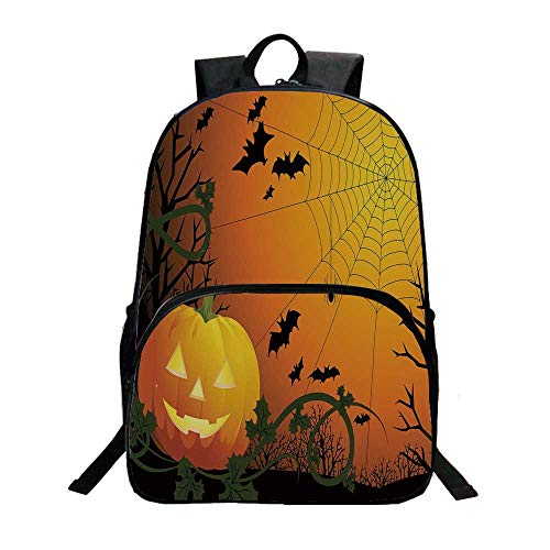 Spider Web Fashionable Backpack,Halloween Themed Composition with Pumpkin Leaves Trees Web and Bats Decorative for Boys,11.8