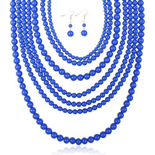 RIAH FASHION Multi Layer Beaded Bubble Statement Necklace - Round Ball Chunky Drape Bib Collar 7 Strands (Sapphire Blue)