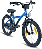 "PROMETHEUS Kids bike 18 inch Boys and Girls in Blue & Black with alloy kickstand | Aluminum V-brake and backpedal brake | including security package | as from 6 years | 18"" BMX Edition 2018"