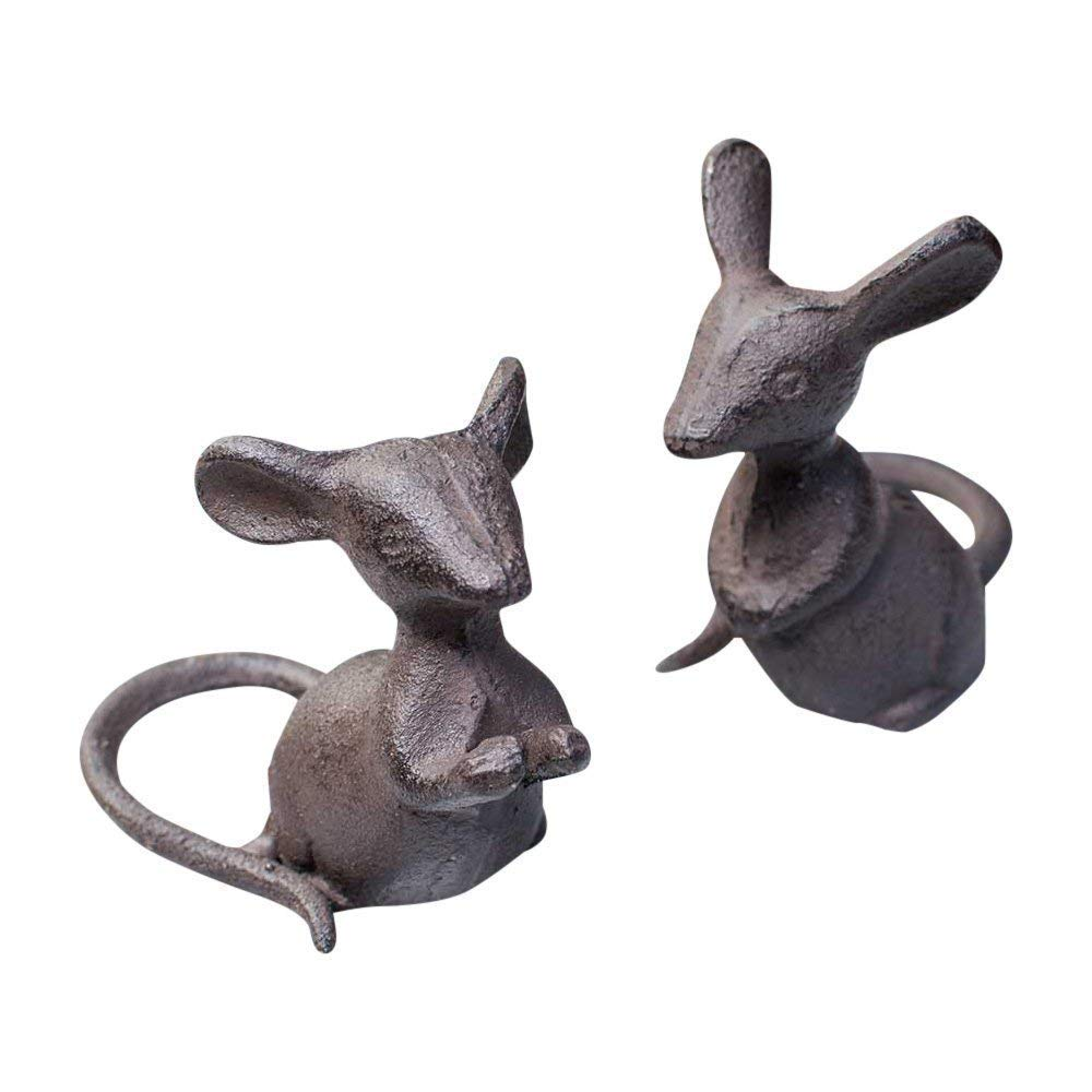 Park Hill Collection, Cast Iron Mice Pair, Rustic Brown
