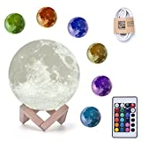 Home Deals Large Size 7.1'' 3D Printing Moon Light Rechargeable Night Light,16 Colors RGB Moonlight Desk Lamp with Touch Remote Control and Wooden Stand for Home Decorations