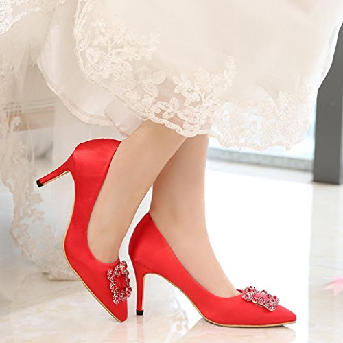 Evening Party Red Bling Shoes Pump Bling Glitter Pointed Wedding 8cm Bride Heel Women's Toe Satin Rhinestone Doris n8Rvxv