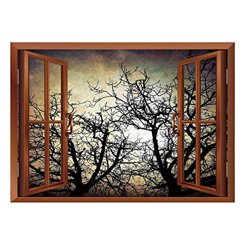 Cheap  SCOCICI Removable 3D Windows Frame Wall Mural Stickers/Horror,Scary Twilight Scene with Grunge..