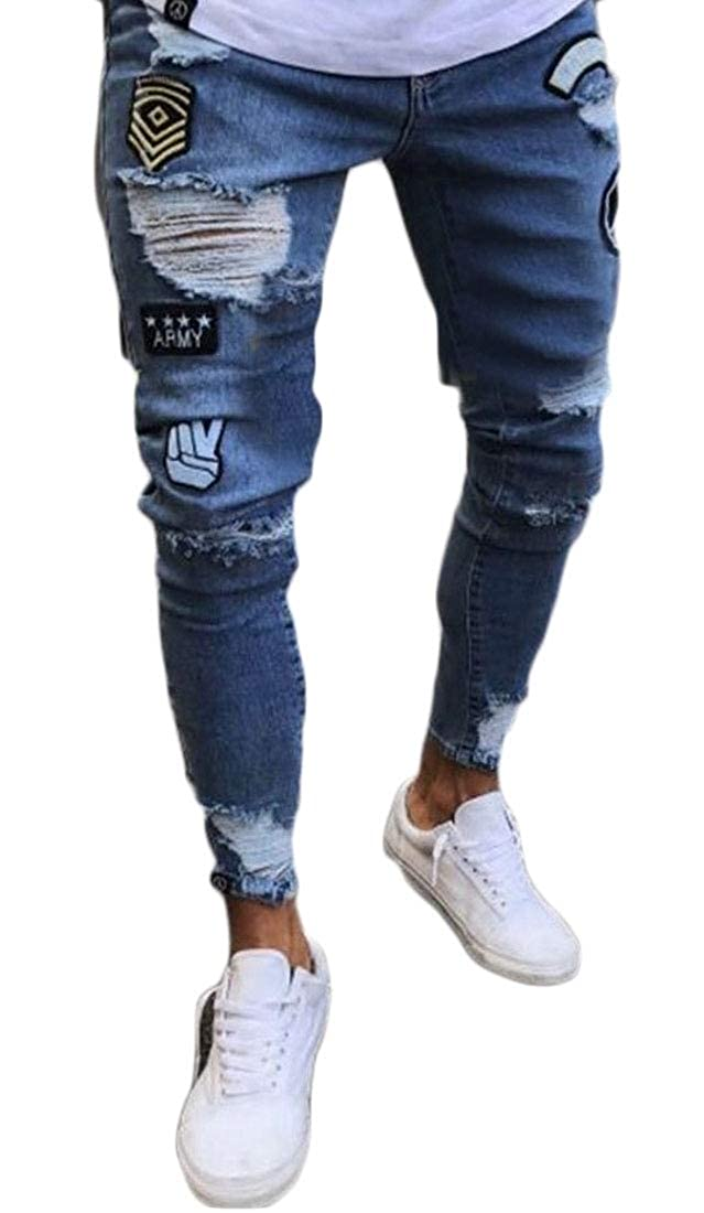 WSPLYSPJY Men Fashion Ripped Skinny Distressed Destroyed Slim Fit Biker Jeans Pants