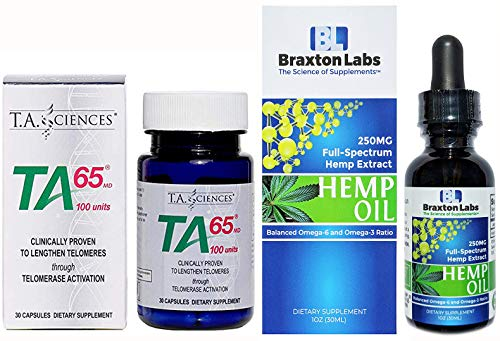 TA-65 30 Capsules 100 Units Includes a Free Bottle of Braxton Labs Premium Hemp Oil 250MG Full-Spectrum Balanced Omega-6 Omega-3 Ratio 100% Made in The USA by TA65/Braxton Labs (Image #1)