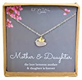 Mother Daughter Necklace - Mommy and Baby Bird, Two Tone Mothers Day Jewelry Gift