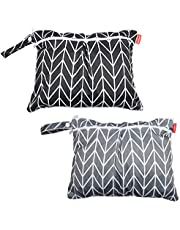 Damero 2pcs Travel Wet and Dry Bag with Handle for Cloth Diaper, Pumping Parts, Clothes, Swimsuit and More, Easy to Grab and Go (Small, Gray Arrows+ Black Arrows)