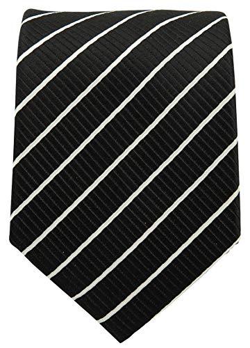(Striped Ties for Men - Woven Necktie - Black w/White)