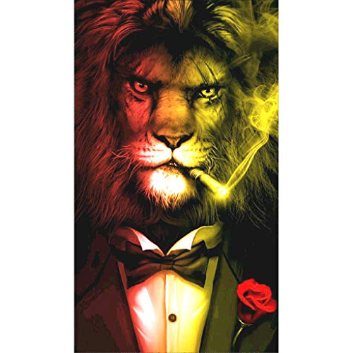 TeemorShop Lion DIY 5D Full Drill Diamond Painting Embroidery Cross Stitch Kit Rhinestone Mosaic Home Decor Crafts Family Entertainment